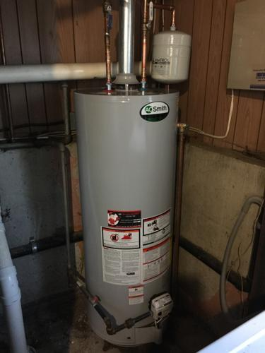 install new ao smith 50 gallon hot water heater and install a thermal expansion tank to help regulate high water pressure the relief valve of the old water