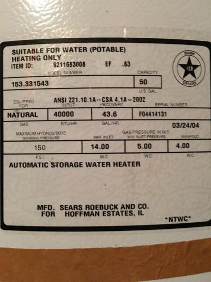 sears hot water heater serial number age