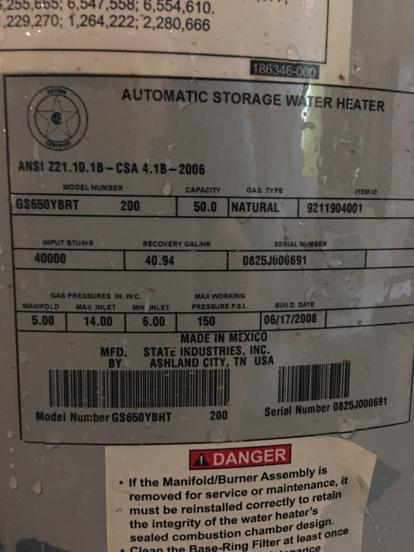 State Select - GS650YBRT200 | Water Heater Database