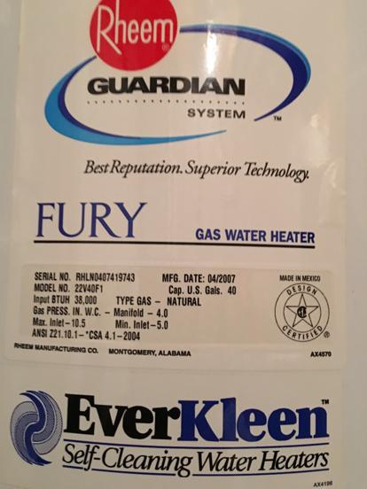 Fury water heater by rheem