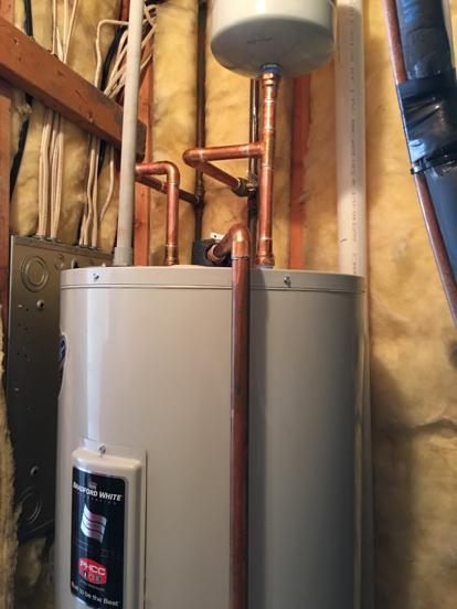 Lee's Summit water heater installed with expansion tank