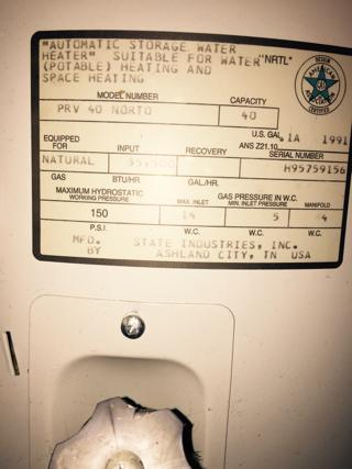 State Select Prv40norto Water Heater Database