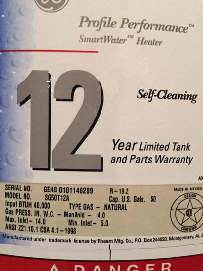 Home Depot water heater 12 year warranty