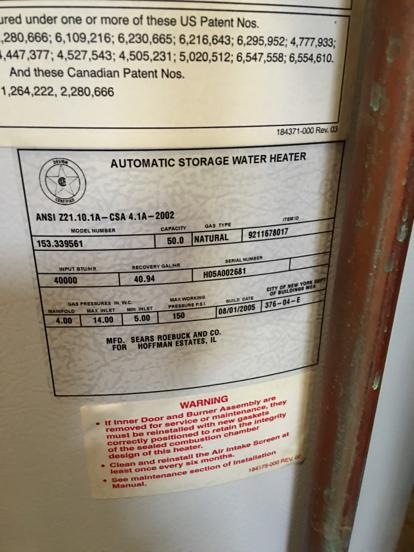 Kenmore water heater age