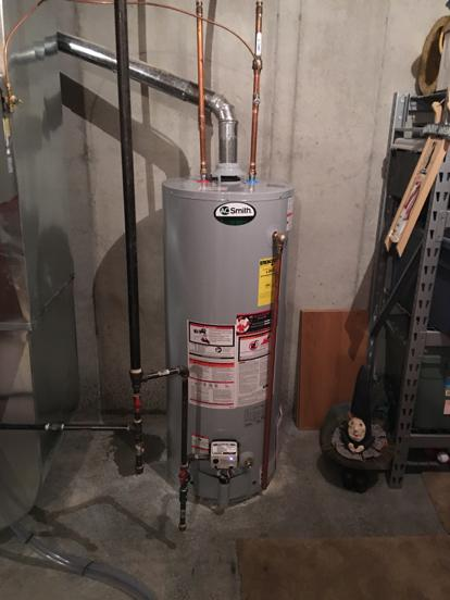 AO Smith water heater flue slope