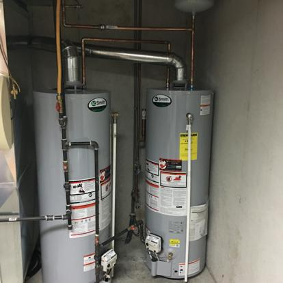 Two water heaters with expansion tank
