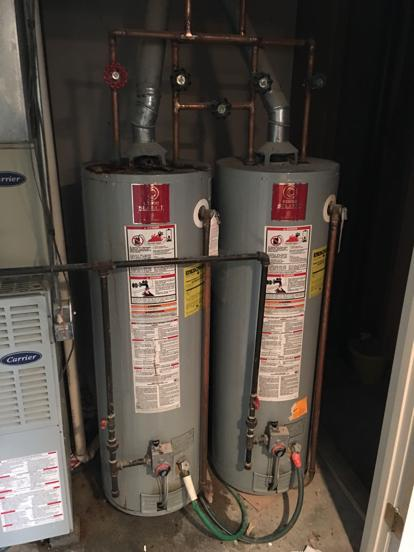Multiple water heaters installed in series and parallel