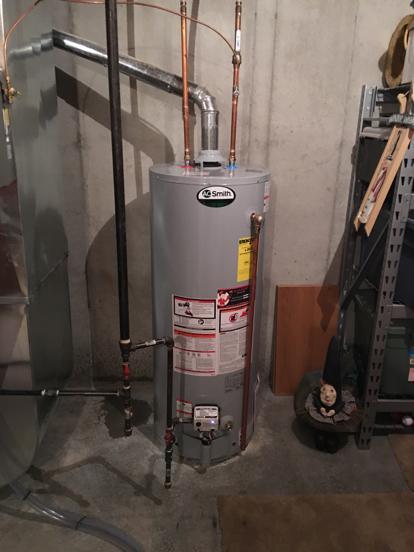 AO Smith water heater flue slope
